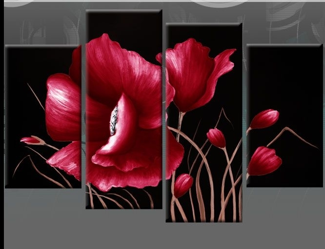 Large Red And Black Floral Flower Canvas Picture Wall Art Split For Red Flowers Canvas Wall Art (Image 8 of 15)