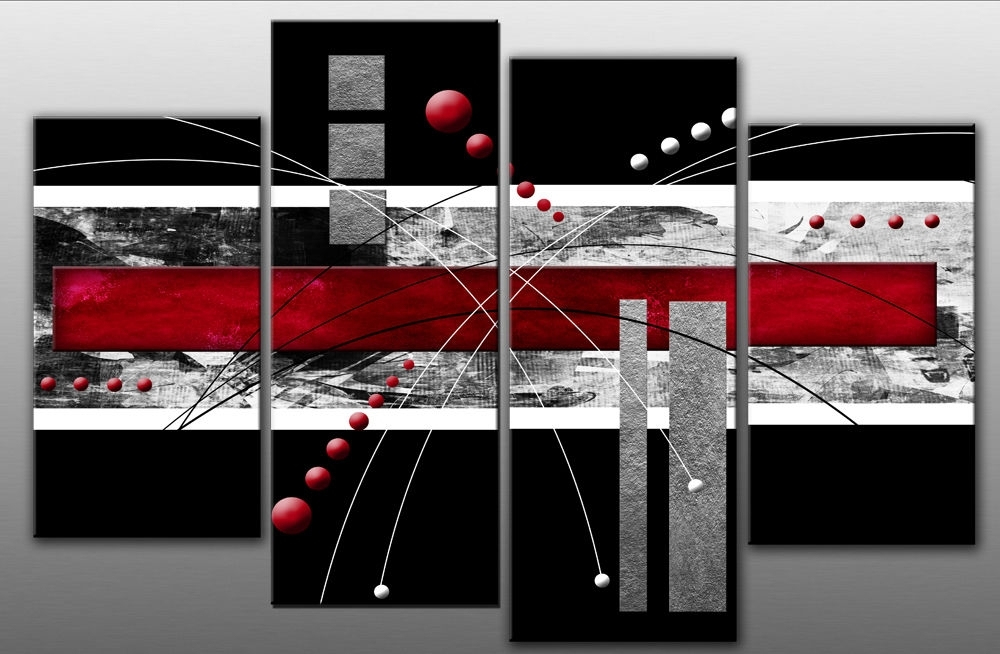 Large Red Black Grey Abstract Canvas Picture Wall Art Split Multi Regarding Red Canvas Wall Art (Image 9 of 15)