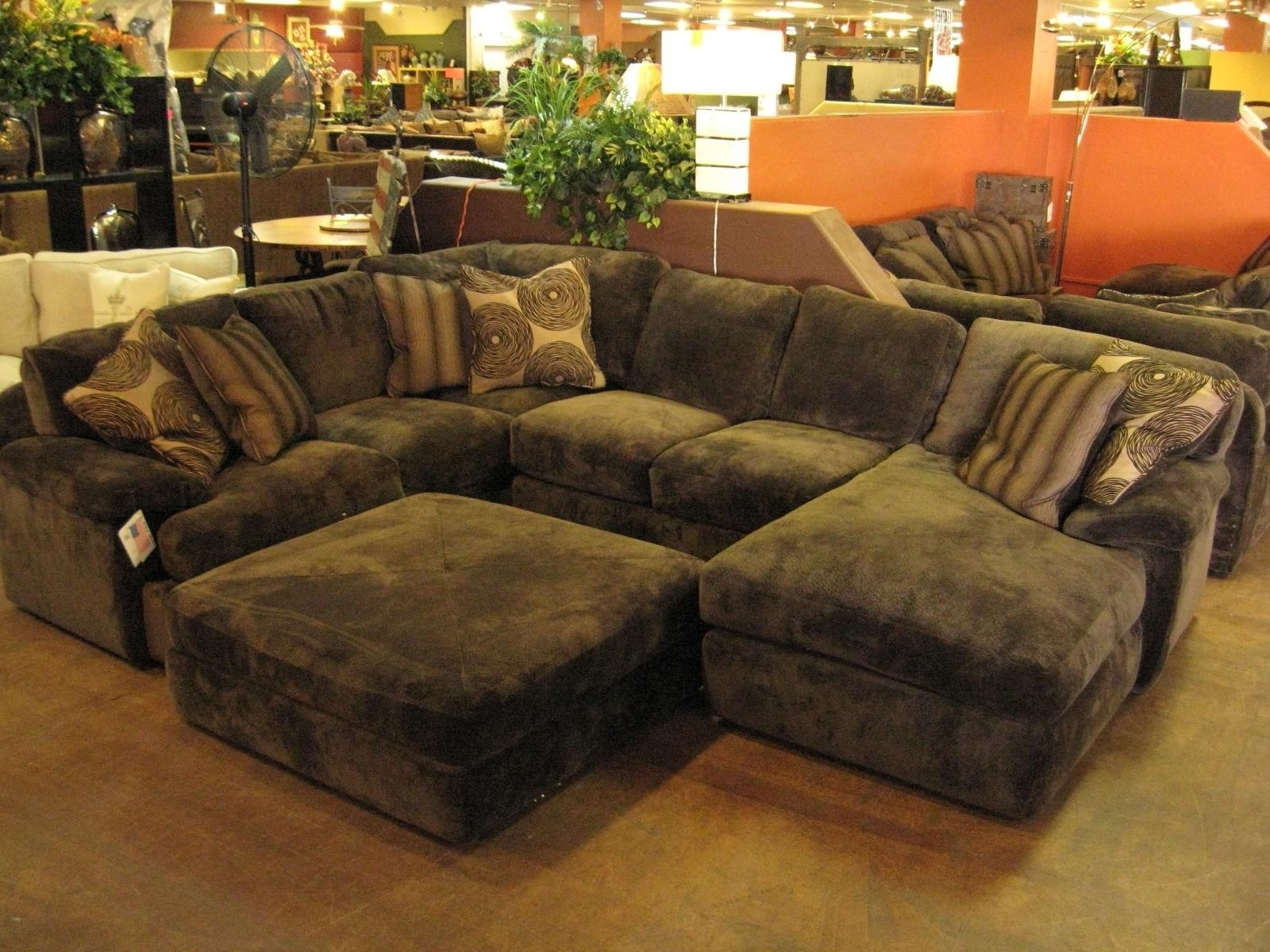 Large Sectional Sofa With Ottoman Black Leather 2 Seater Stock Regarding Sectional Couches With Large Ottoman (View 9 of 10)