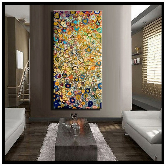 Large Single Abstract Flower Cheap Huge Vertical Oil Painting On Regarding Modern Abstract Huge Oil Painting Wall Art (Image 10 of 15)