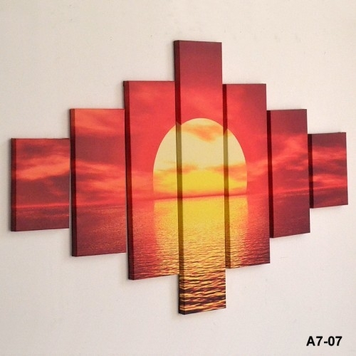 Large Sunset Sea Red Yellow Wall Art – Inthemarket Throughout Ireland Canvas Wall Art (Image 9 of 15)