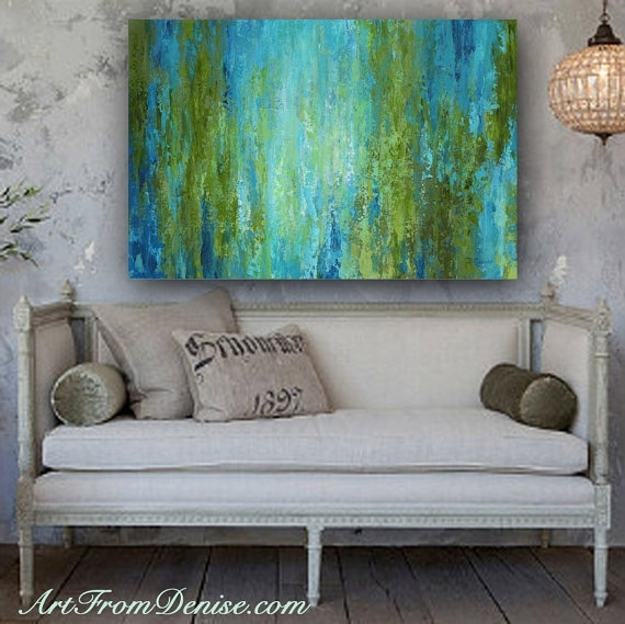 Large Wall Art, Abstract Canvas Print, Turquoise Olive Green Blue Pertaining To Olive Green Abstract Wall Art (Image 10 of 15)