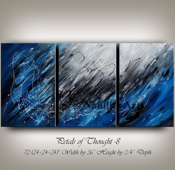 Large Wall Art Blue Acrylic Abstract Painting Wall Decor Grey Throughout Abstract Art Wall Hangings (View 10 of 15)