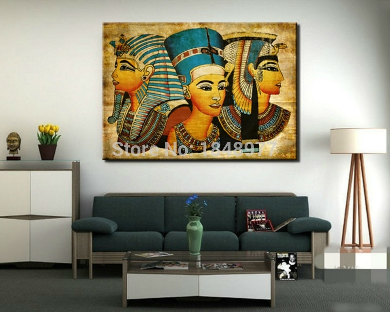 Large Wall Art Canvas Pharaoh Of Egyptian Home Decoration In Egyptian Canvas Wall Art (View 13 of 15)