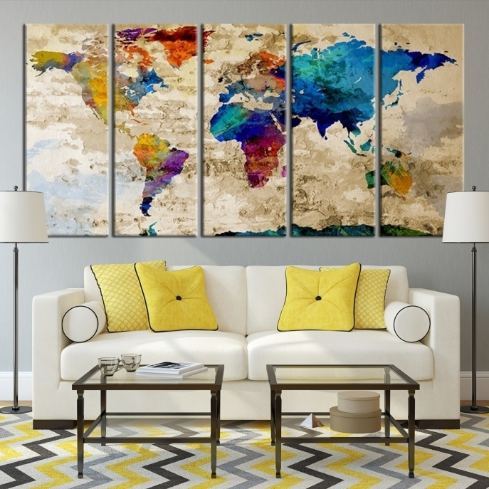 Large Wall Art Rainbow Coloured World Map On Old Cream Wall Canvas Within Maps Canvas Wall Art (View 15 of 15)