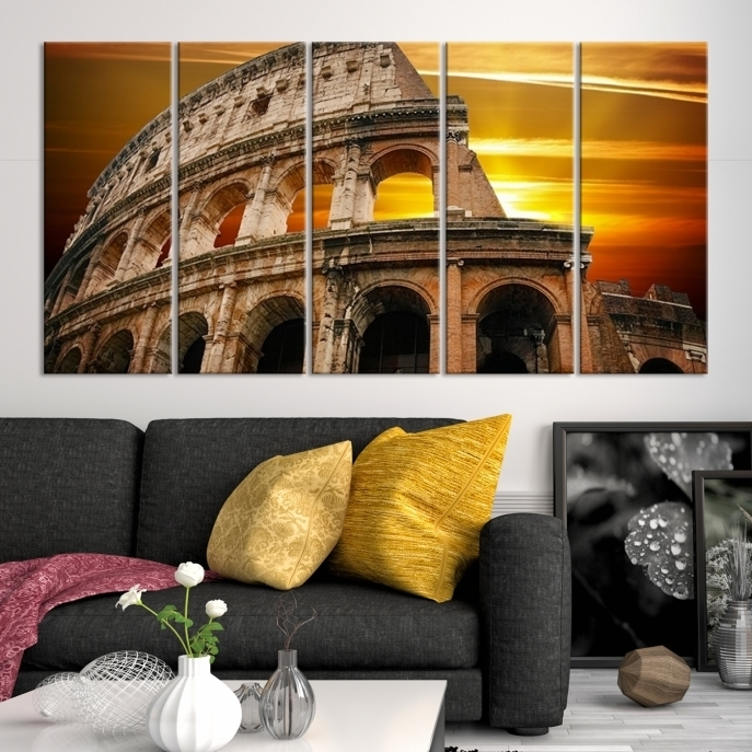 Large Wall Art Rome Canvas Print – Colosseum With Yellow Sunset Throughout Canvas Wall Art Of Rome (View 4 of 15)