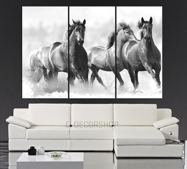 Large Wall Art Running Wild Horses Canvas Print - 3 Panel Large inside Horses Canvas Wall Art