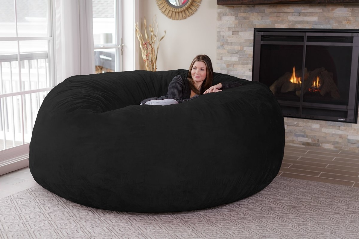 Latitude Run Extra Large Microsuede Bean Bag Sofa & Reviews | Wayfair With Bean Bag Sofas (Image 8 of 10)