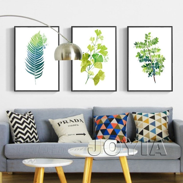 Leaf Print Wall Decor Green Botanical Leaves Art Prints Minimalist Within Leaves Canvas Wall Art (View 15 of 15)