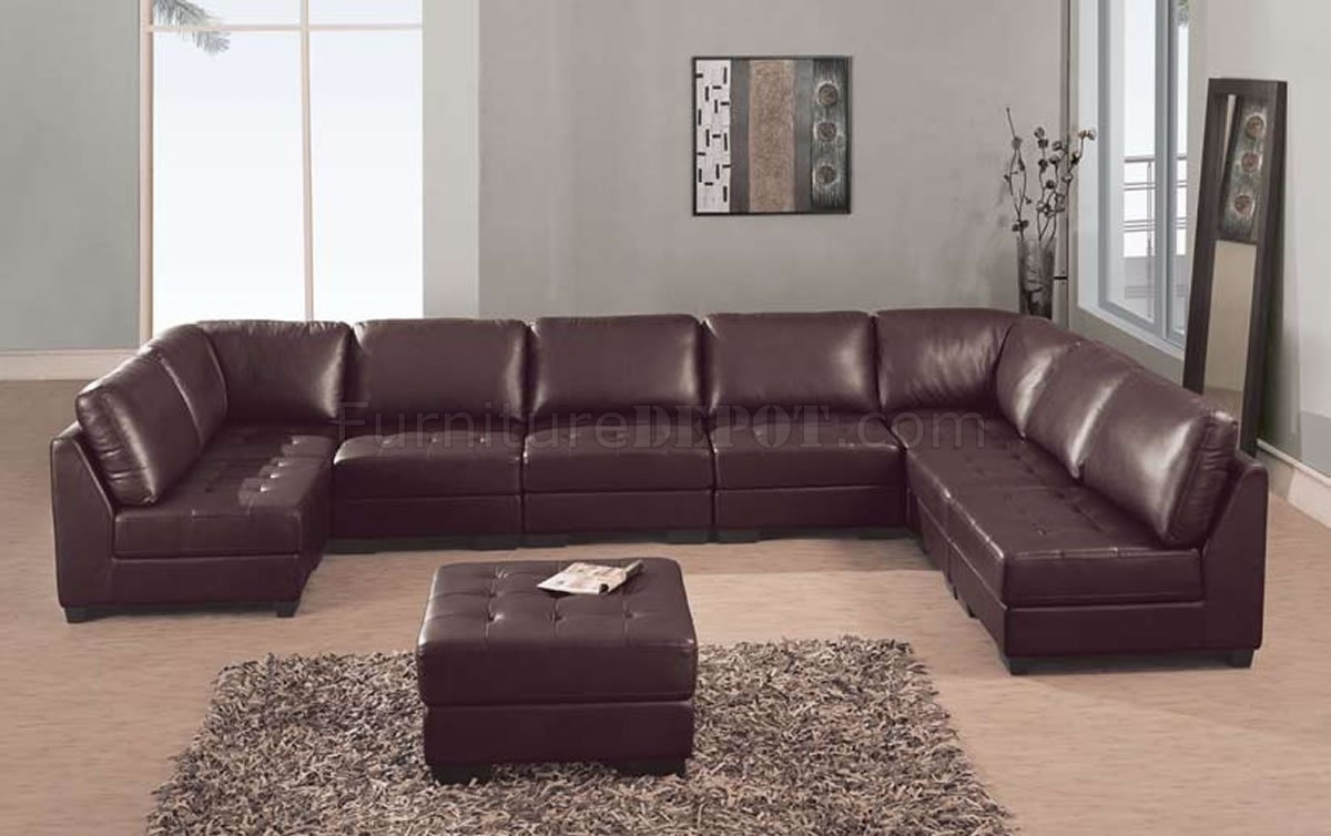 Leather 8 Pc Modern Sectional Sofa W/tufted Seats With High End Leather Sectional Sofas (View 3 of 10)