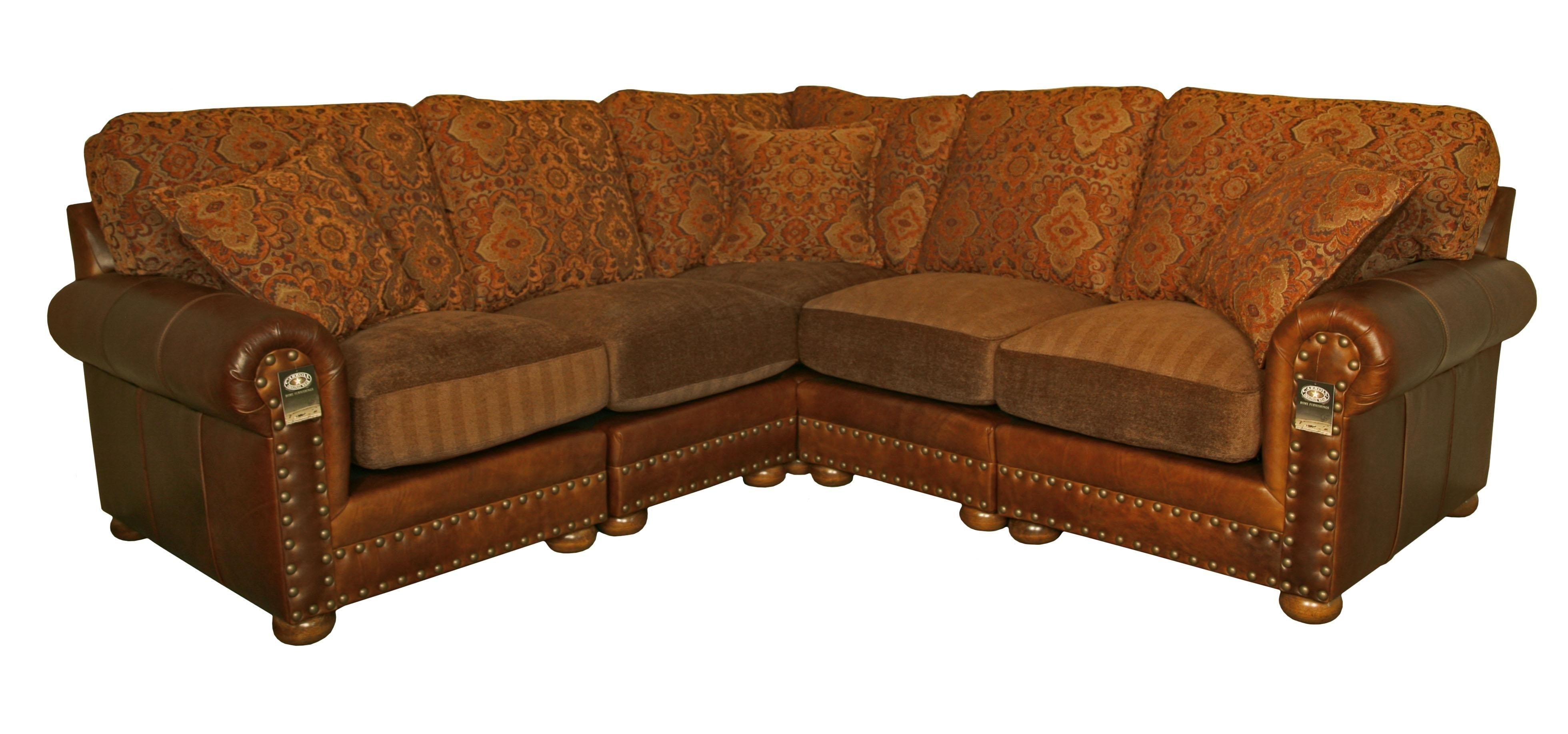 Leather And Cloth Couches | Hinsdale Sectional Sofa Weston Pecan Intended For Leather And Cloth Sofas (Image 2 of 10)
