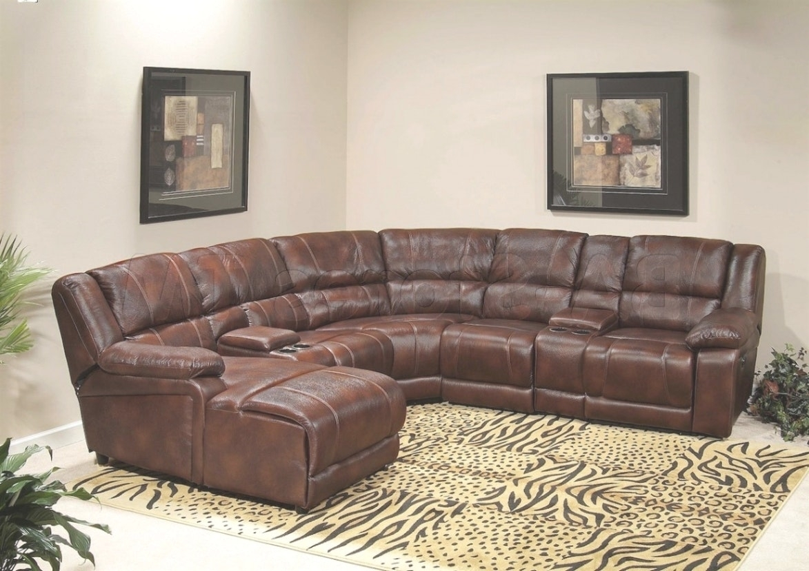 Leather High Back Sectional Sofa With Recliner And Triangular Regard Within Sectional Sofas With High Backs (Image 6 of 10)