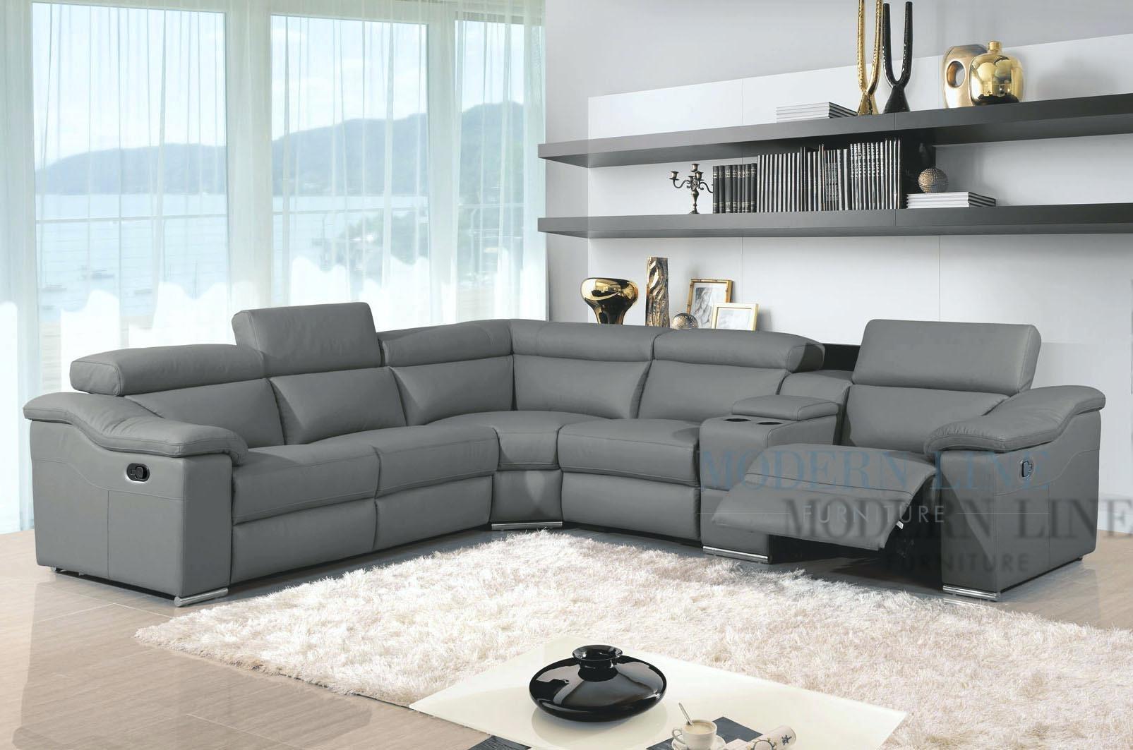 Leather Reclining Sectional Sofa – Kaaiz Inside Leather Recliner Sectional Sofas (Image 9 of 10)