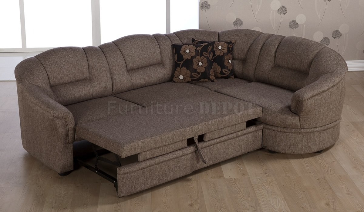 Leather Sectional Sleeper Sofa With Recliners Sectional Sofa Pull Within Pull Out Beds Sectional Sofas (Image 6 of 10)