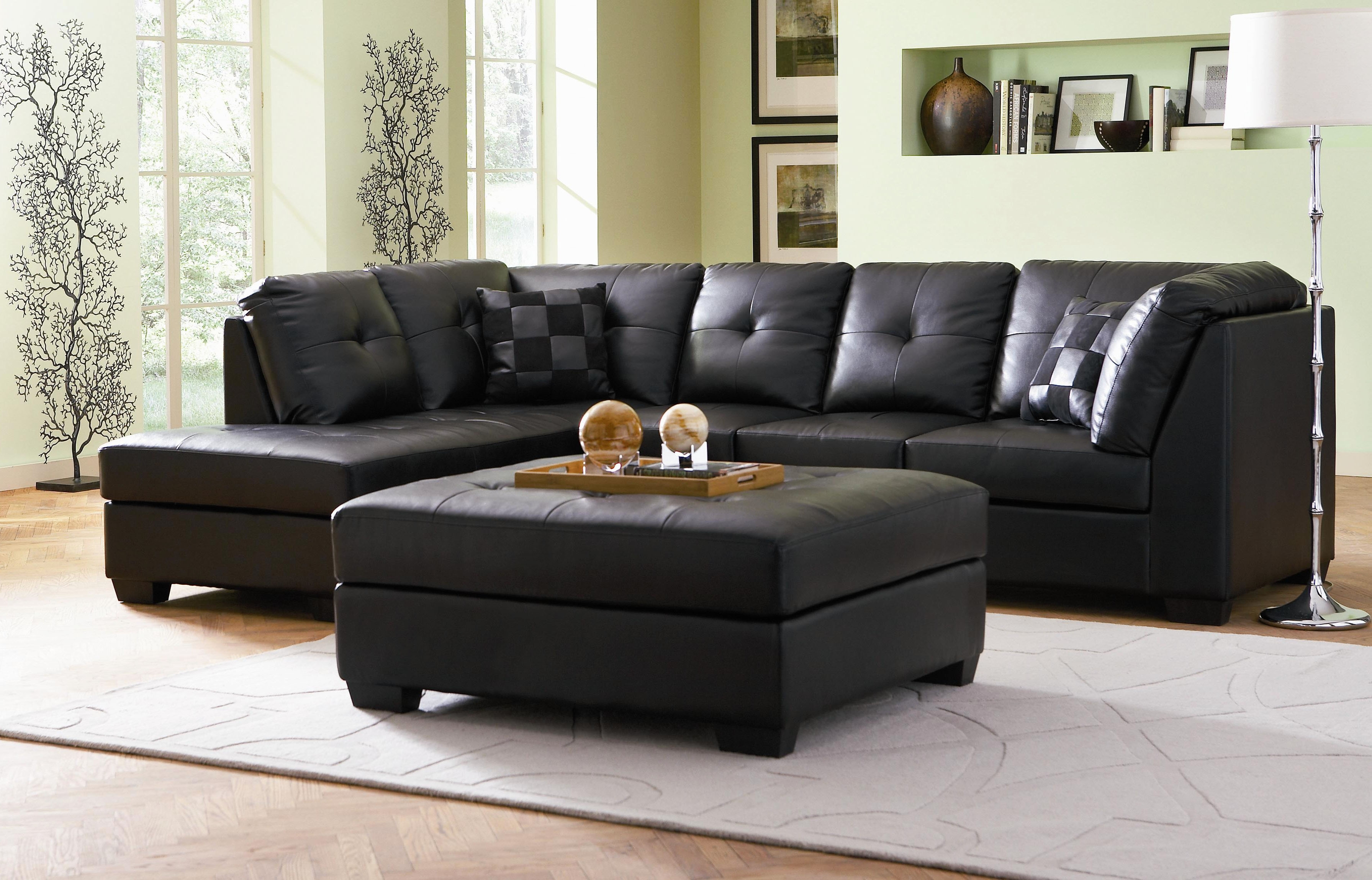 Leather Sectional Sofa For Small Living Room In Black Color With Intended For Leather Sectional Sofas With Ottoman (Image 9 of 10)
