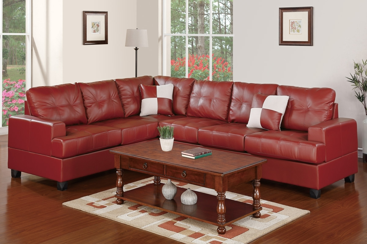 Leather Sectionals, Living Room – Burgundy Bonded Leather Sectional With Regard To Red Faux Leather Sectionals (Image 3 of 10)