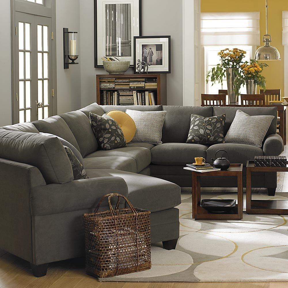 Left Cuddler Sectional — Love The Idea Of A Gray Couch Yellow Regarding Cuddler Sectional Sofas (Image 5 of 10)