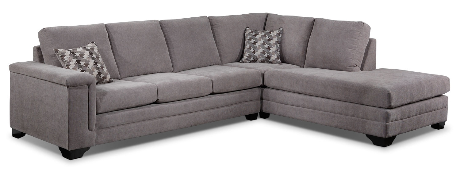 Leighton 2 Piece Sectional With Right Facing Chaise – Grey | Leon's Throughout Leons Sectional Sofas (Image 6 of 10)