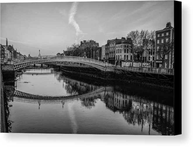 Liffey River Dublin Ireland In Black And White Canvas Print Within Dublin Canvas Wall Art (Image 12 of 15)