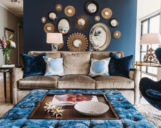 Light Brown Sofa And Blue Egg Chair With Mirrored Furniture Dining With Regard To Brown Furniture Wall Accents (Image 8 of 15)