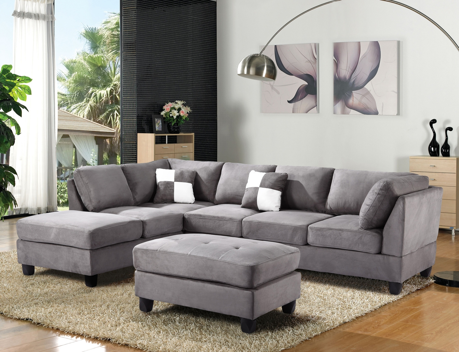 Light Gray Sectional Sofa Fabric Modern Grey Divani Casa Quebec With Regard To Quebec Sectional Sofas (Image 8 of 10)