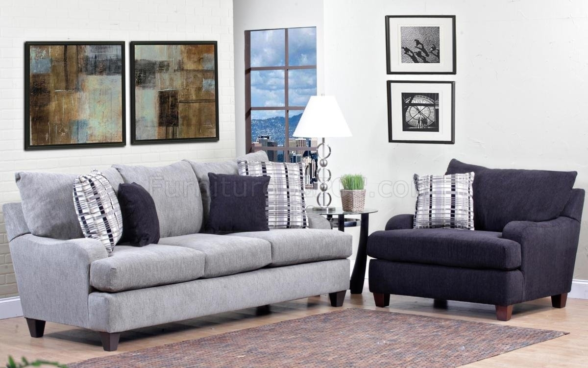 Light Grey Fabric Modern Sofa & Accent Chair Set W/options For Sofa And Accent Chair Sets (Image 9 of 10)