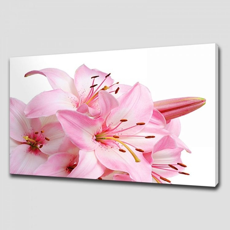 Lily Floral Canvas Print Picture Wall Art Throughout Pink Canvas Wall Art (View 11 of 15)