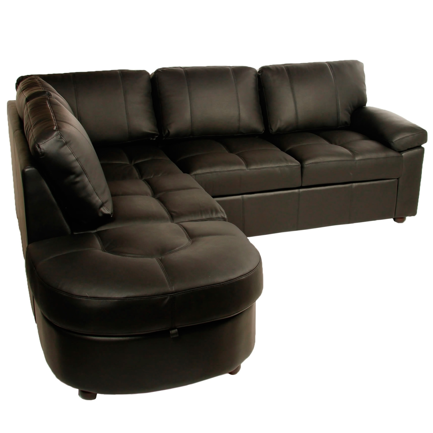 Lina Black Leather Corner Sofa Bed With Storage – Sofabedsworld (Image 5 of 10)