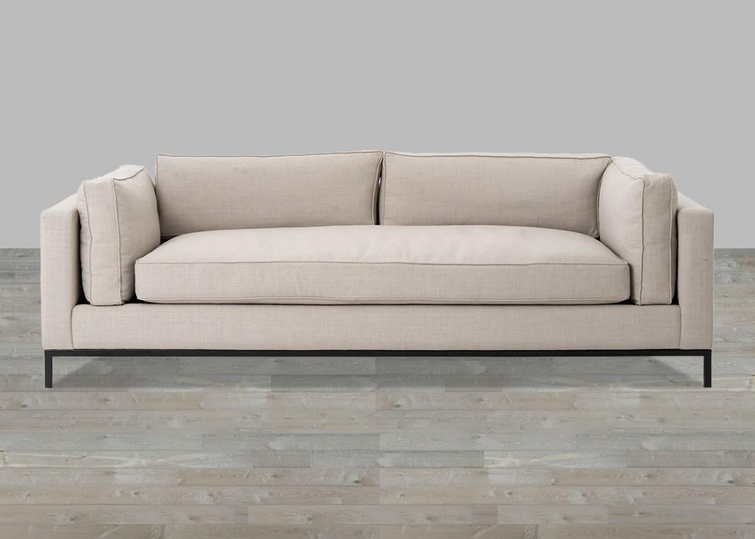Linen Sofa With Single Seat Cushion Regarding Single Sofas (View 6 of 10)