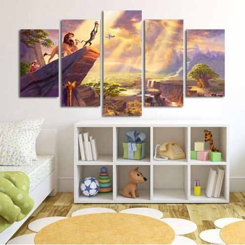 Lion King Simba Large Canvas Print, 5 Panel Canvas, Cartoon Wall With Lion King Canvas Wall Art (View 8 of 15)