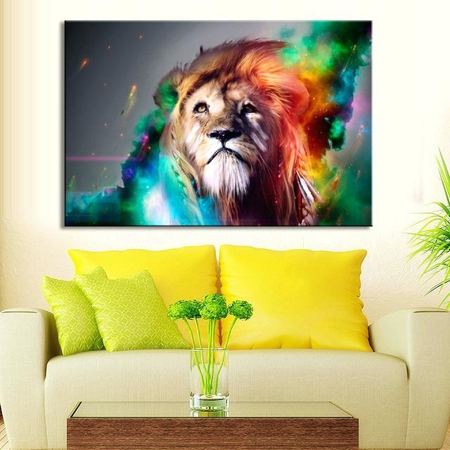 Lion Wall Art Animal Colorful Lion Wall Art Creative Lion Painting Within Lion King Canvas Wall Art (Image 10 of 15)