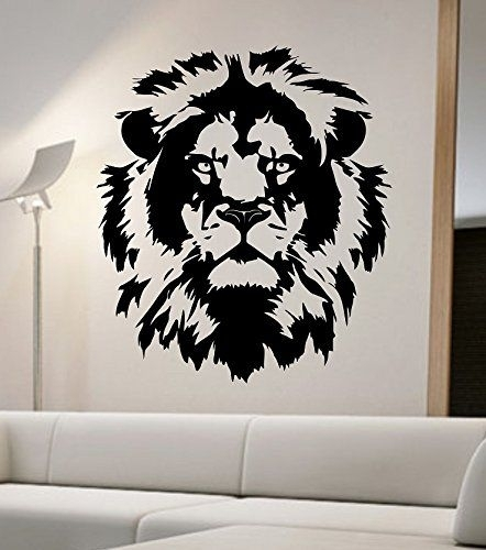 Lion Wall Decal Viinyl Sticker Home Decor Abstract Lion Face Cat Inside Abstract Lion Wall Art (Image 12 of 15)