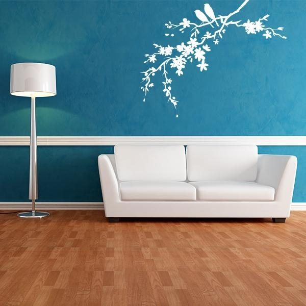 Little Birds On Flowered Branch Wall Decals | Wall Decal World Intended For Wall Accent Decals (View 2 of 15)