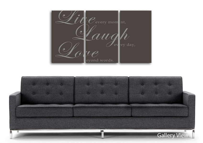 Live Laugh Love 2 Chocolate Text Quotes 3 Panel Canvas 3 Panel Set Intended For Live Laugh Love Canvas Wall Art (View 9 of 15)