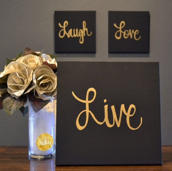 Live Laugh Love Canvas Wall Art Paintings 3 Piece Value Pack Pertaining To Live Laugh Love Canvas Wall Art (View 3 of 15)