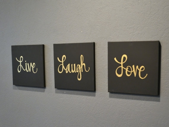 Live Laugh Love Canvas Wall Art Paintings 3 Piece Value Pack Wall Inside Live Laugh Love Canvas Wall Art (View 4 of 15)