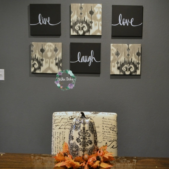 Live Laugh Love Wall Art Pack Of 6 Canvas Wall Hangings Hand Intended For Live Laugh Love Canvas Wall Art (View 10 of 15)