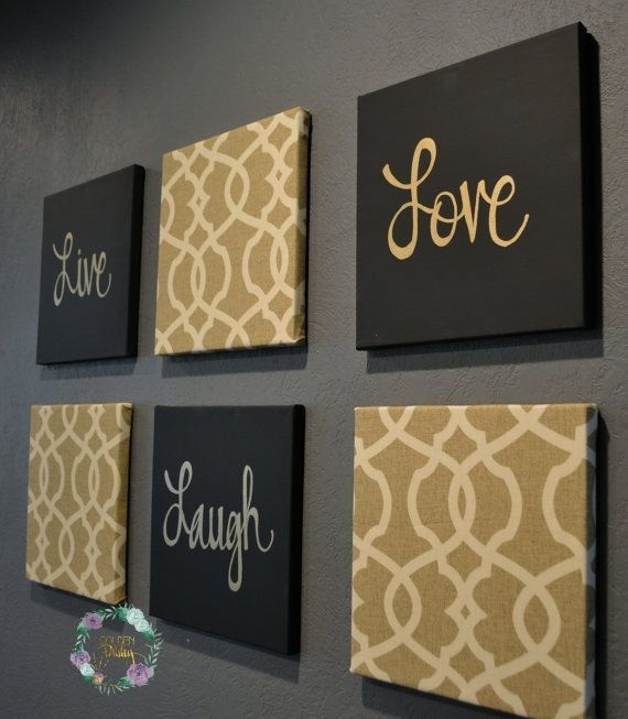 Live Laugh Love Wall Art Pack Of 6 Canvas Wallgoldenpaisley Within Live Laugh Love Canvas Wall Art (View 11 of 15)