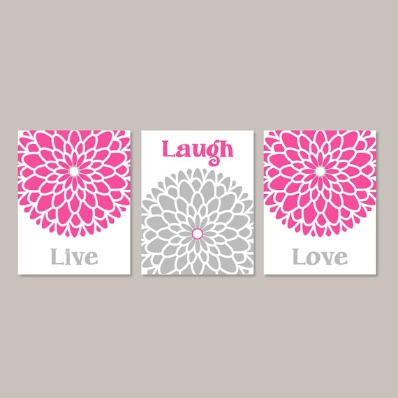 Live Laugh Love Wall Art Prints Or Canvas Hot Pink Gray Wall Throughout Live Laugh Love Canvas Wall Art (View 15 of 15)