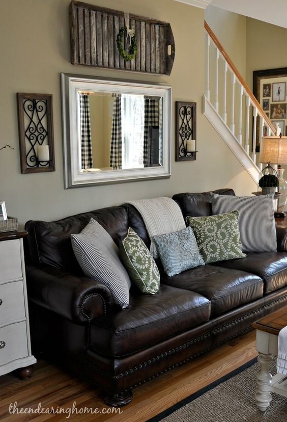 Living Room : Above Sofa Wall Decor Ideas Couch Living Rooms Room With Brown Couch Wall Accents (Image 10 of 15)