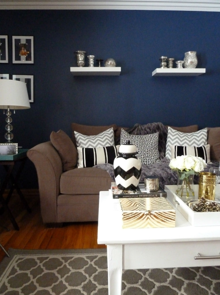 Living Room : Accent Wall Ideas Living Room Brown Color Intended For Navy Wall Accents (Image 9 of 15)