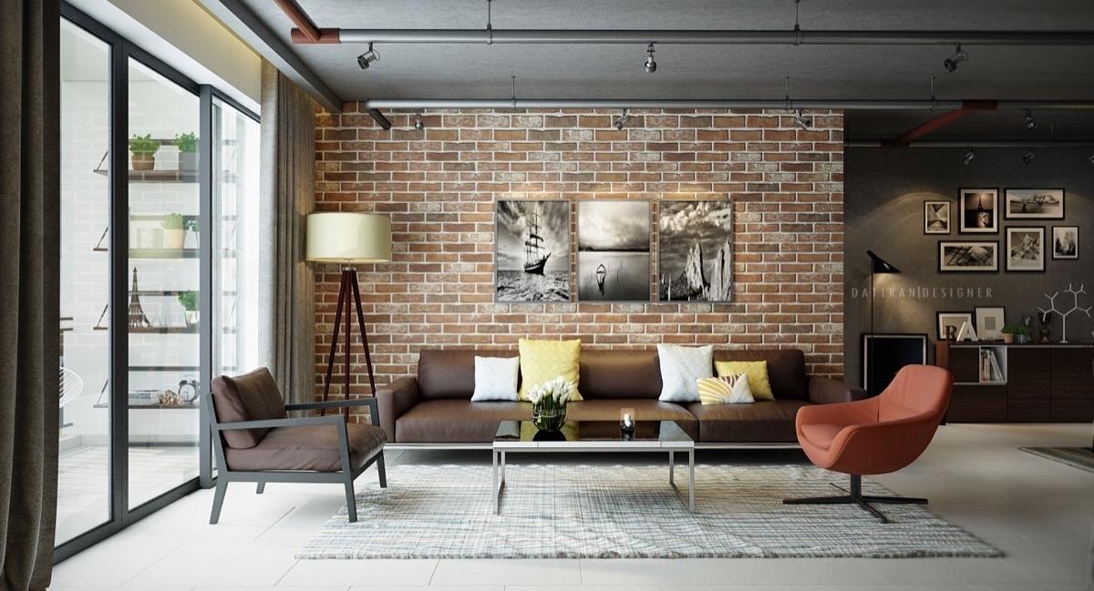 Living Room : Brick Effect Wallpaper Living Room Brick Accent Wall In Exposed Brick Wall Accents (View 3 of 15)