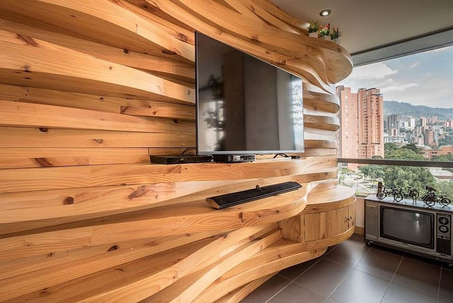 Living Room – Curved Wooden Accent Wall Inside The Living Space Within Wood Wall Accents (View 9 of 15)