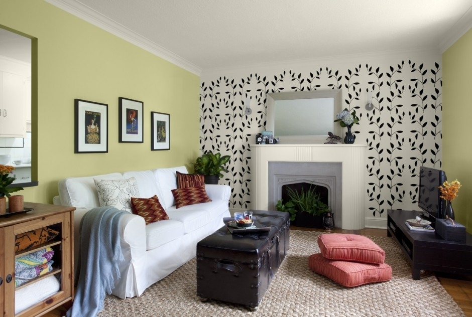 Living Room Decoration Ideas Gorgeous Interior Design For Living In Green Room Wall Accents (Image 11 of 15)