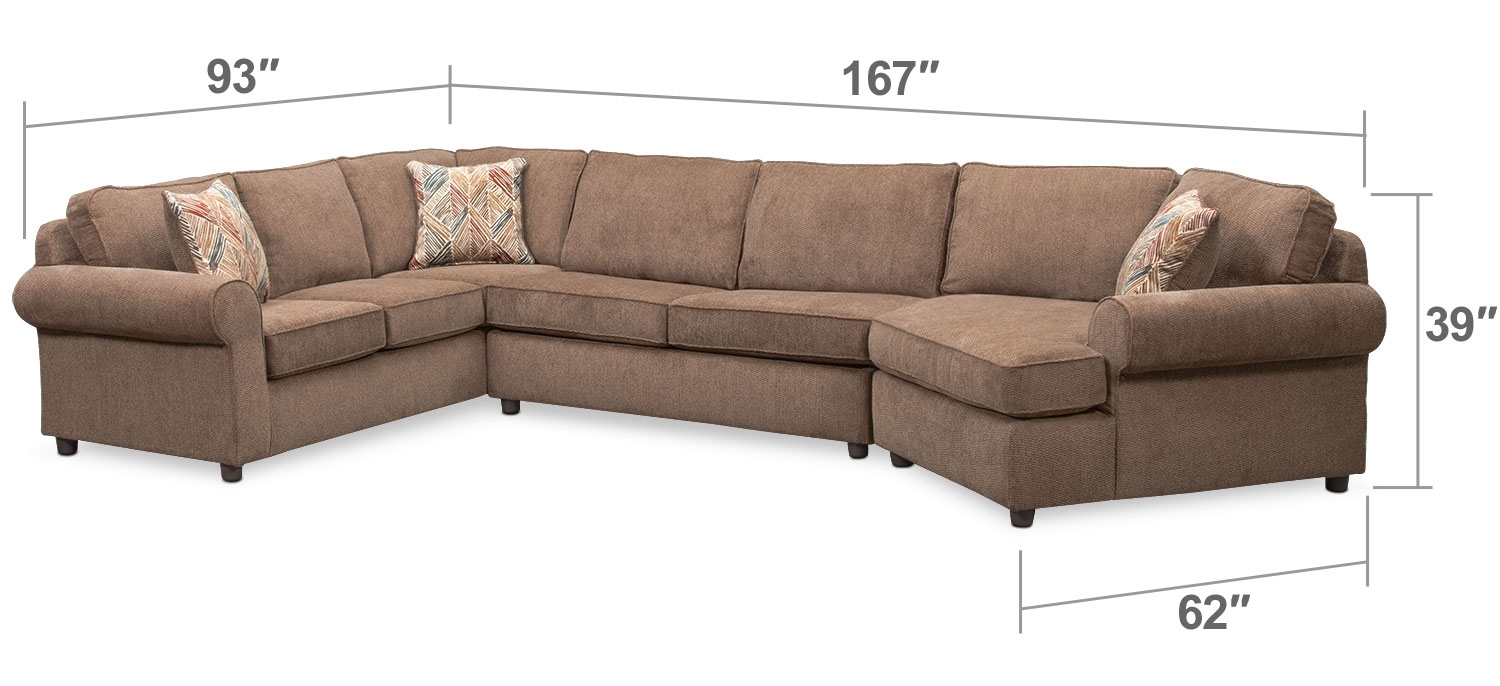Living Room Furniture – Lakelyn 3 Piece Memory Foam Sleeper Throughout Quincy Il Sectional Sofas (Image 10 of 10)