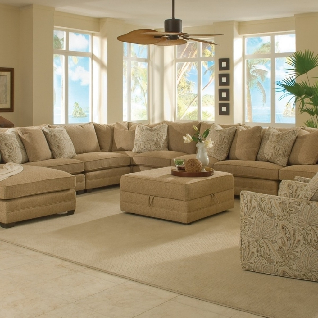 Living Room: Large Sectional Sofas With Chandelier And Photo In Wall With Regard To Large Sectional Sofas (Image 5 of 10)
