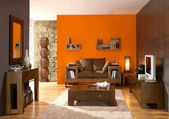 Living Room : Modern Interior Design Decor Ideas Brown Orange Intended For Brown Wall Accents (Image 10 of 15)