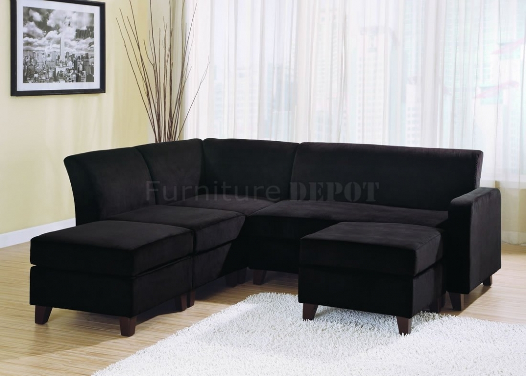 Living Room: Sectional Sofa Design: Wonderful Black Microfiber For Black Sectional Sofas (Image 7 of 10)
