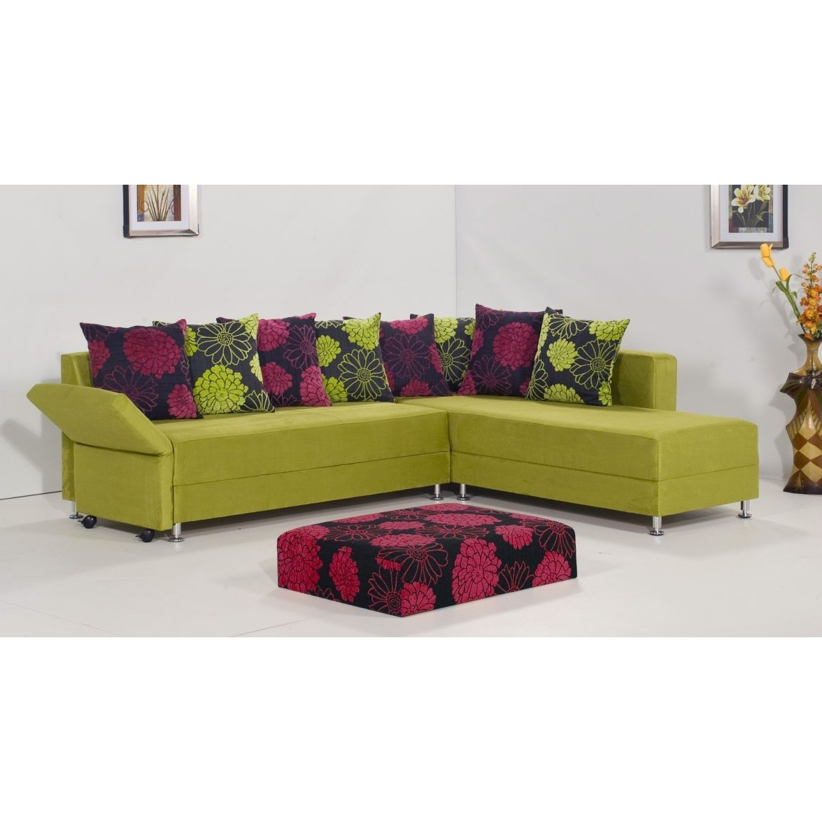 Living Room Sofa Green Leather Sectional Modern | Aksitarih Intended For Green Sectional Sofas (View 7 of 10)