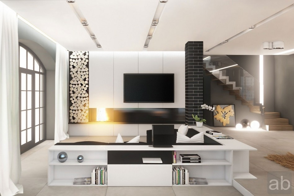 Living Room : White Modern Sitting Room With Living Room Feature Within Wall Accents For L Shaped Room (Image 12 of 15)